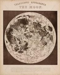 'Telescopic Appearance of the Moon'  c 1851.