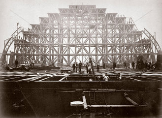 Erection of the roof of St Pancras Station  1868.