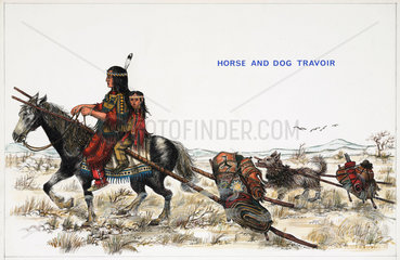 'Horse and Dog Travoir'  19th century.