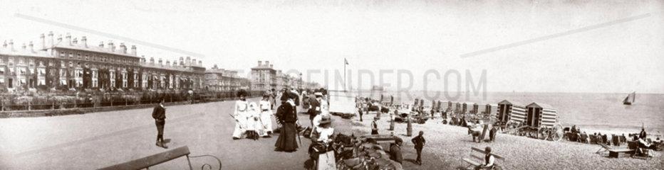 Panoramic view of an English seaside resort  c 1900.