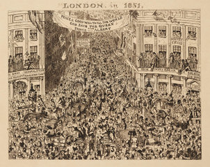 Crowded streets during the Great Exhibition  London  1851.