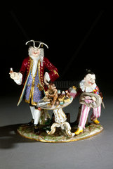 Charlatan with a monkey and a clown  German  c 1724-1900.