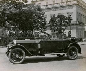 Napier 6 cylinder Cunard open tourer outside Athenaeum club  London