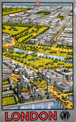 Aerial view of Central London  GWR poster  1936.