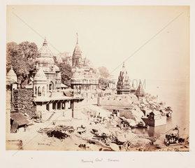 'Burning Ghat  Benares'  c 1865.
