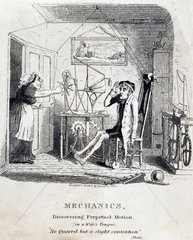 'Mechanics: Discovering Perpetual Motion (in a Wife's Tongue)'  c 1830s.