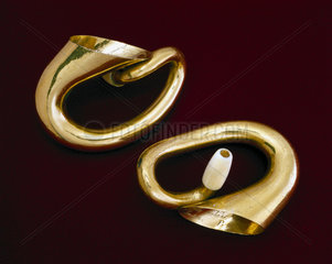 A pair of miniature double trumpet hearing aids  English  c 1865.
