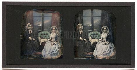 Stereo-daguerreotype of Mrs Antoine Claudet  c 1853.