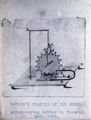 Barlow's wheel  March 1822. Original sketch
