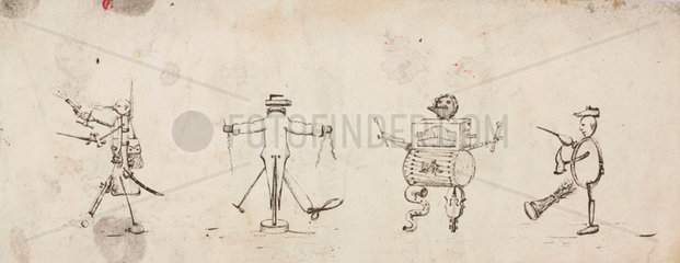 Personifications of a soldier  tailor  musician and cobbler/cooper  c 1830.