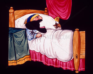 Bearded man in bed  and a mouse  mid 19th century.