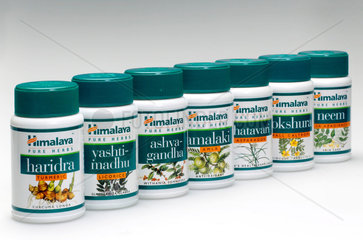 Containers of herbal tablets  Indian  2005.