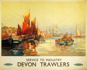 'Service to Industry - Devon Trawlers'  BR (WR) poster  c 1950.
