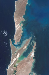 Salt farm at Shark Bay  Australia  from space  c 2006.