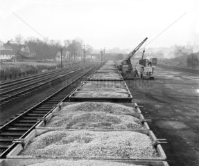 Stone waiting to be unloaded  Stansted goods yard  Essex  1954.