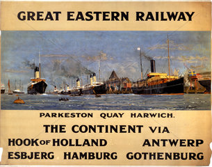 'The Continent via Hook of Holland'  GER poster  1912.