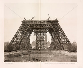 Assembly of the horizontal girders  Eiffel Tower  Paris  26 March 1888.