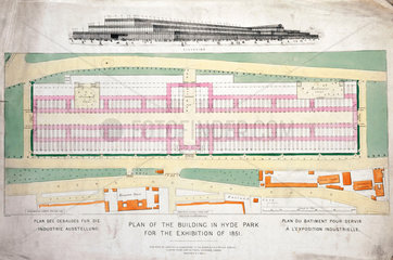 Elevation and plan of Crystal Palace in Hyde Park  London  9 November 1850.