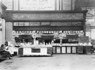 WH Smith bookstall  Manchester Victoria Station  c 1926.