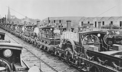 GWR broad gauge locomotives at Swindon Works  Wiltshire  1898.