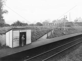 Great Western Railway halt at Farrington Gurney  Somerset  1936.