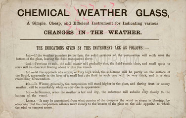 Description of a chemical weather glass  19th century.