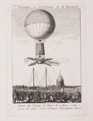 Blanchard's first balloon ascent  2 March 1784.