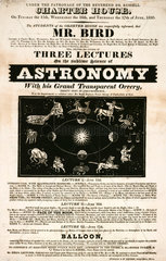 Mr Bird's lectures on astronomy  Westminster  handbill  London  1830.