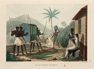 Slaves carrying a palanquin  Ile de France  Mauritius  1817-1820.