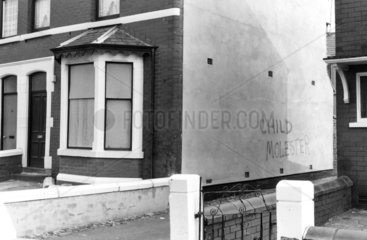 Graffiti on a rapist's house  Blackpool  Lancashire  March 1986.