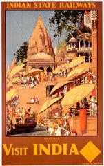 'Visit India'  Indian State Railways poster  c 1930s.