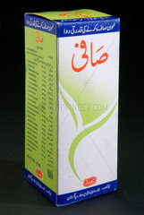 Box containing a bottle of Safi  'the blood purifier'  Pakistan  c 2004-2005.