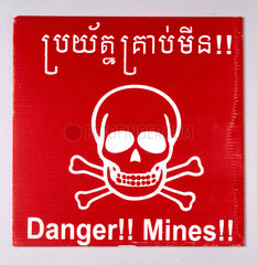 Minefield warning sign  Cambodia  1997-2002.