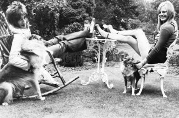 Rod Stewart  Dee Harrington and dogs  September 1973.