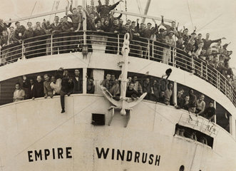The 'Empire Windrush' arriving from Jamaica  1948.