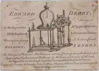 Trade card for Edward Derby  instrument maker  18th century.