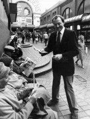 Ken Livingstone distributing GLC leaflets  September 1983.