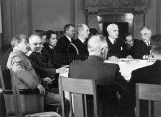 Third meeting of the three powers at Livadia Palace  Yalta  February 1945.