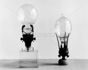 Two Ediswan type lamps  c 1890.