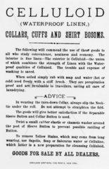 Celluloid waterproof collars  cuffs and shirt bosoms  c 1885.