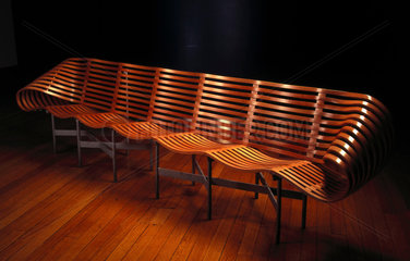 Compressed wooden bench designed by Jane Dillon  c 1997.