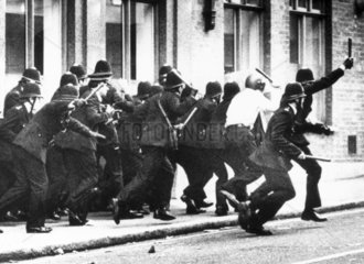 Police charge  Brixton riots  London  April 1981.