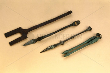 Bronze forceps  spoon  elevator and cautery  200 BC-1600 AD.