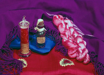 A selection of early synthetic dyes and dyed material  mid 19th century.