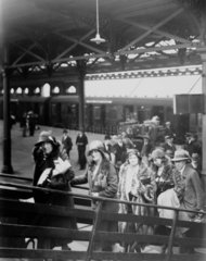 Passengers embarking on the Irish ferry at Holyhead  1931.