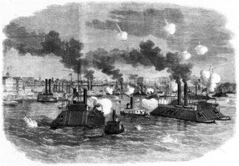 Destruction of the Confederate flotilla  USA  1862.