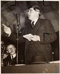 Aneurin Bevan giving an address  c 1940s.