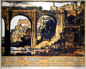 'Over the Nidd near Harrogate'  LNER poster  1923-1947.