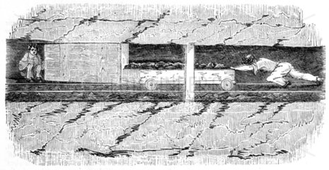 Drawer pushing a wooden sled in a mine  1842.