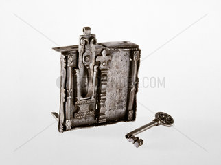 German steel chest lock with key  17th century.